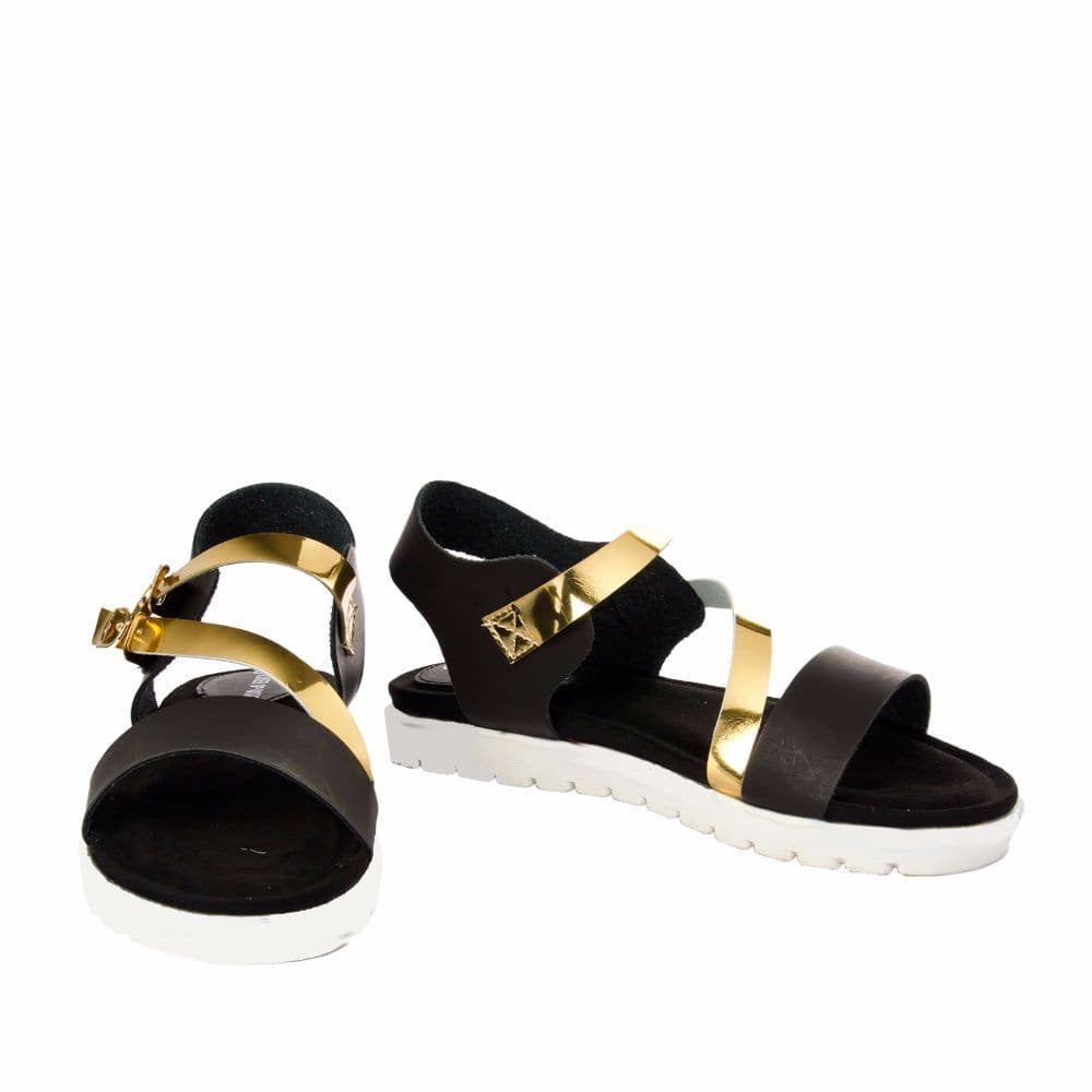 Strappy Gold and Black flatform sandal - Joker & Witch - 2