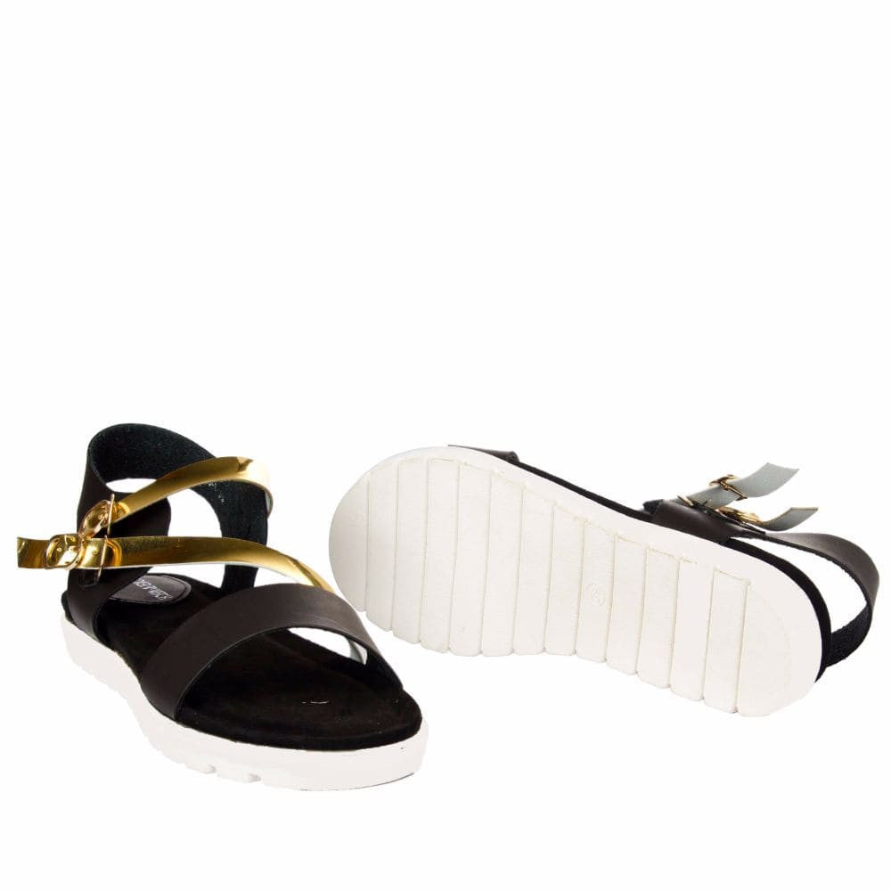 Strappy Gold and Black flatform sandal - Joker & Witch - 11