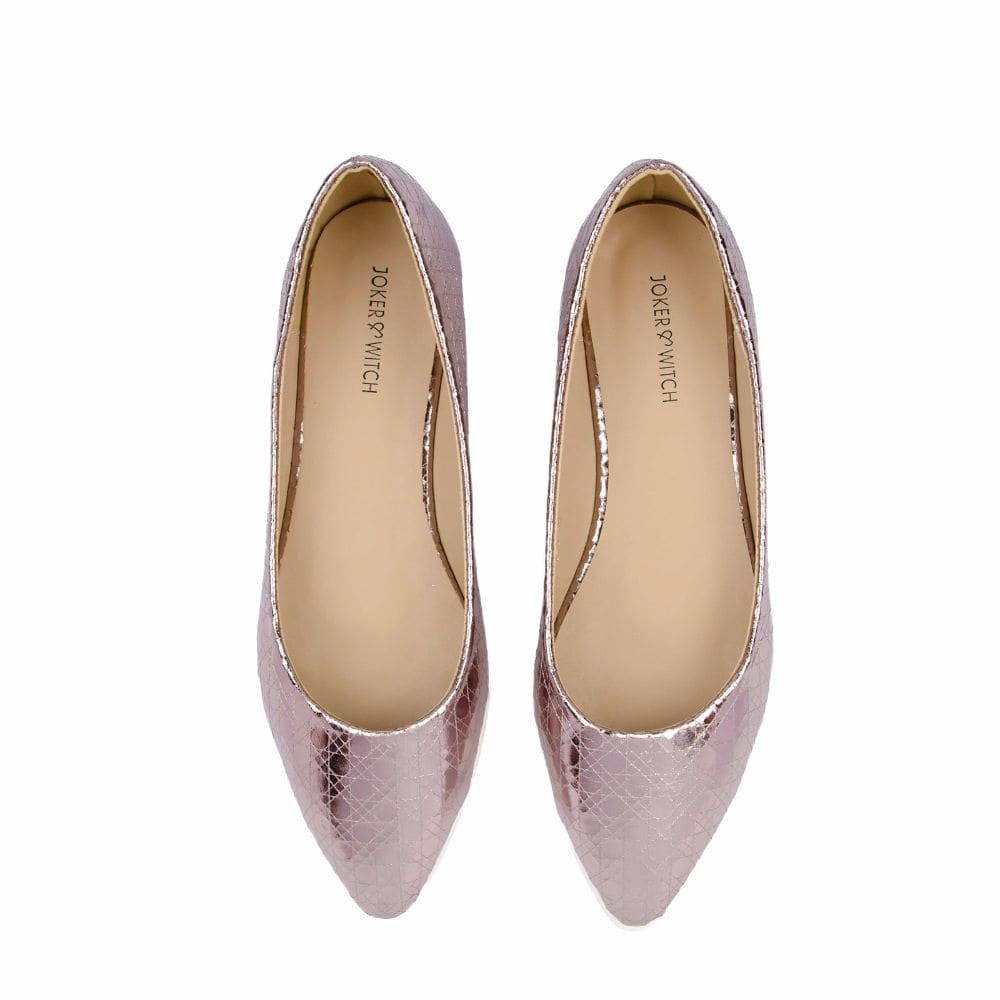 Textured Light Pink Flatform Ballerinas - Joker & Witch - 4