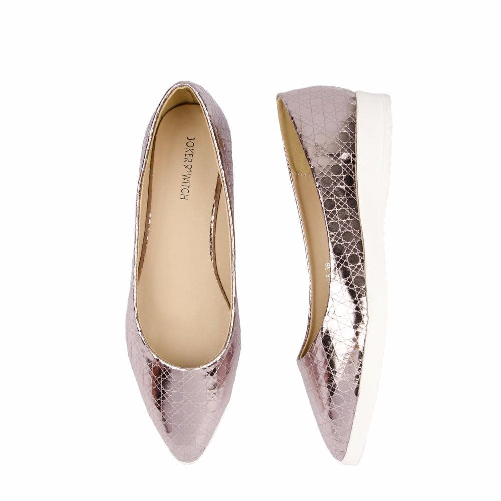 Textured Light Pink Flatform Ballerinas - Joker & Witch - 3