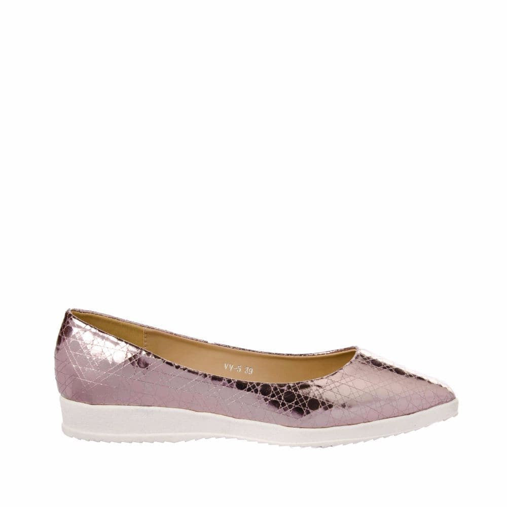Textured Light Pink Flatform Ballerinas - Joker & Witch - 1