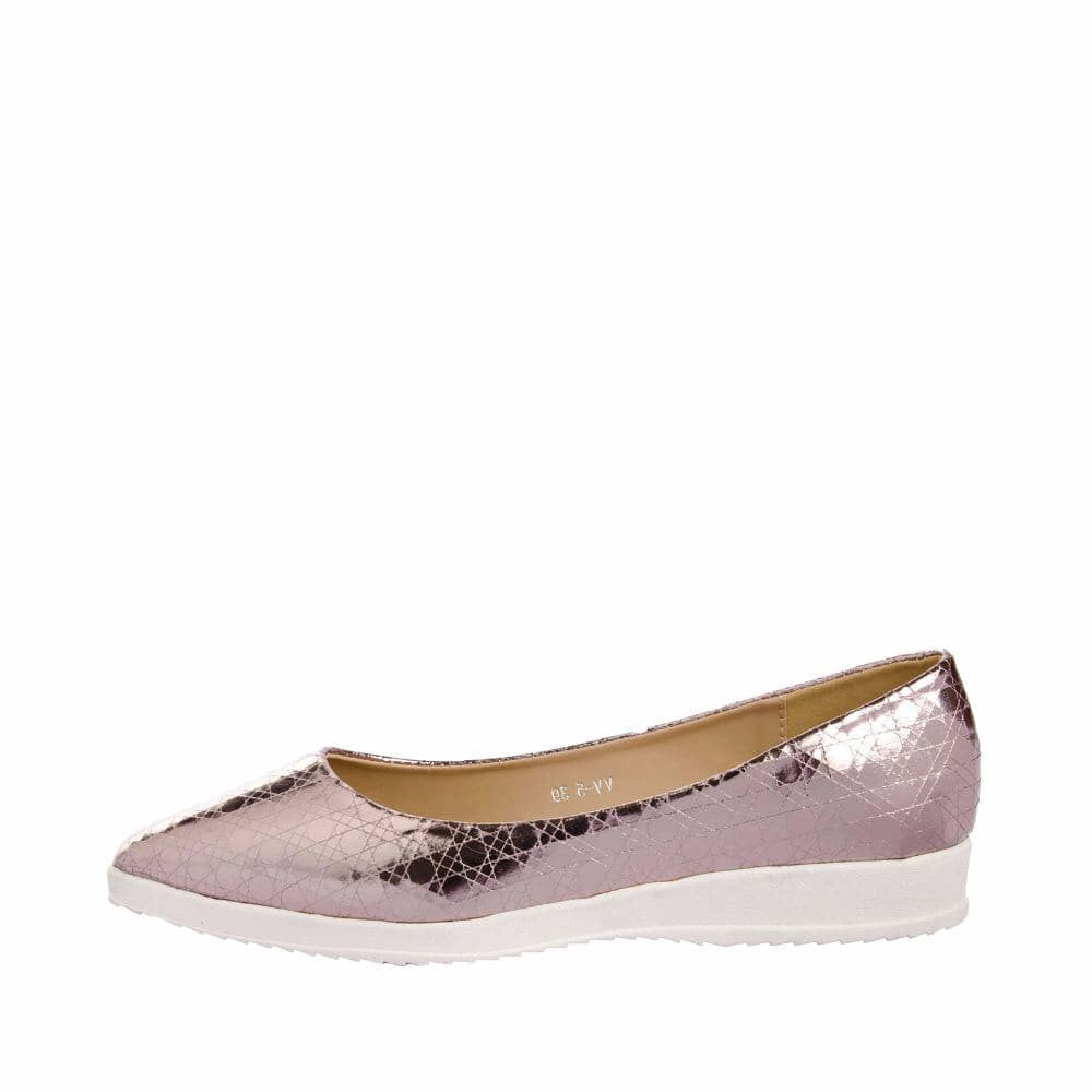 Textured Light Pink Flatform Ballerinas - Joker & Witch - 5