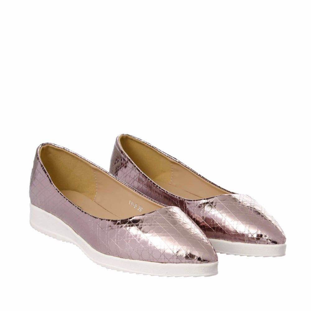Textured Light Pink Flatform Ballerinas - Joker & Witch - 7