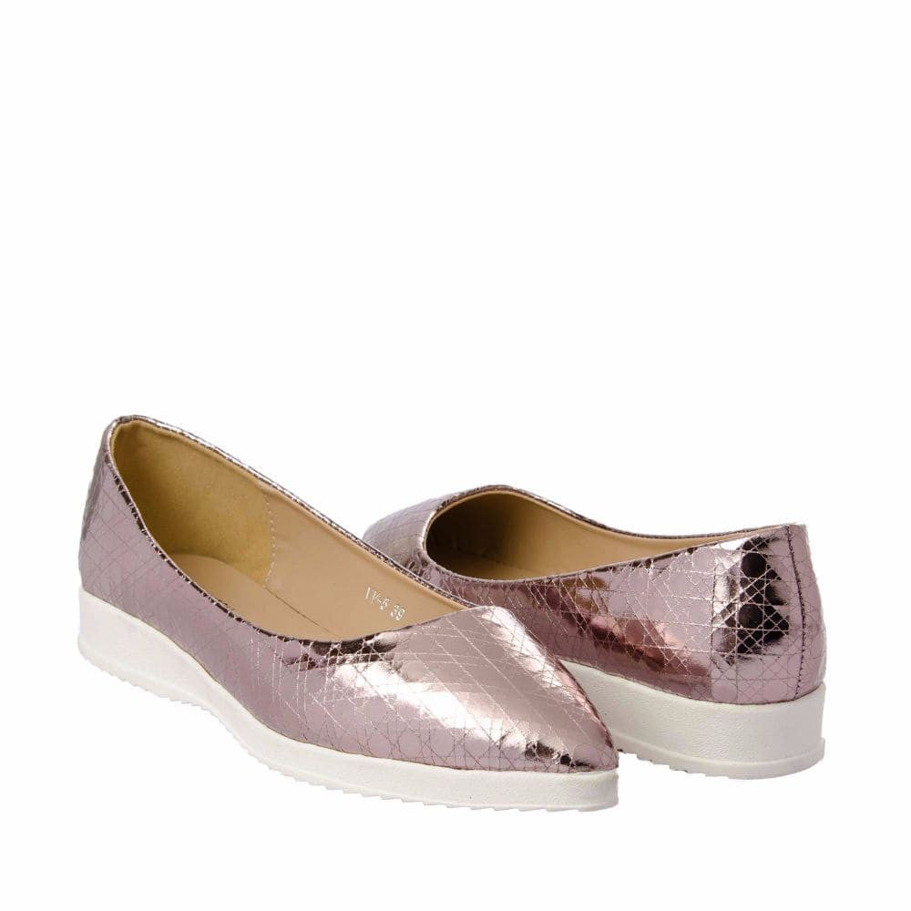 Textured Light Pink Flatform Ballerinas - Joker & Witch - 8