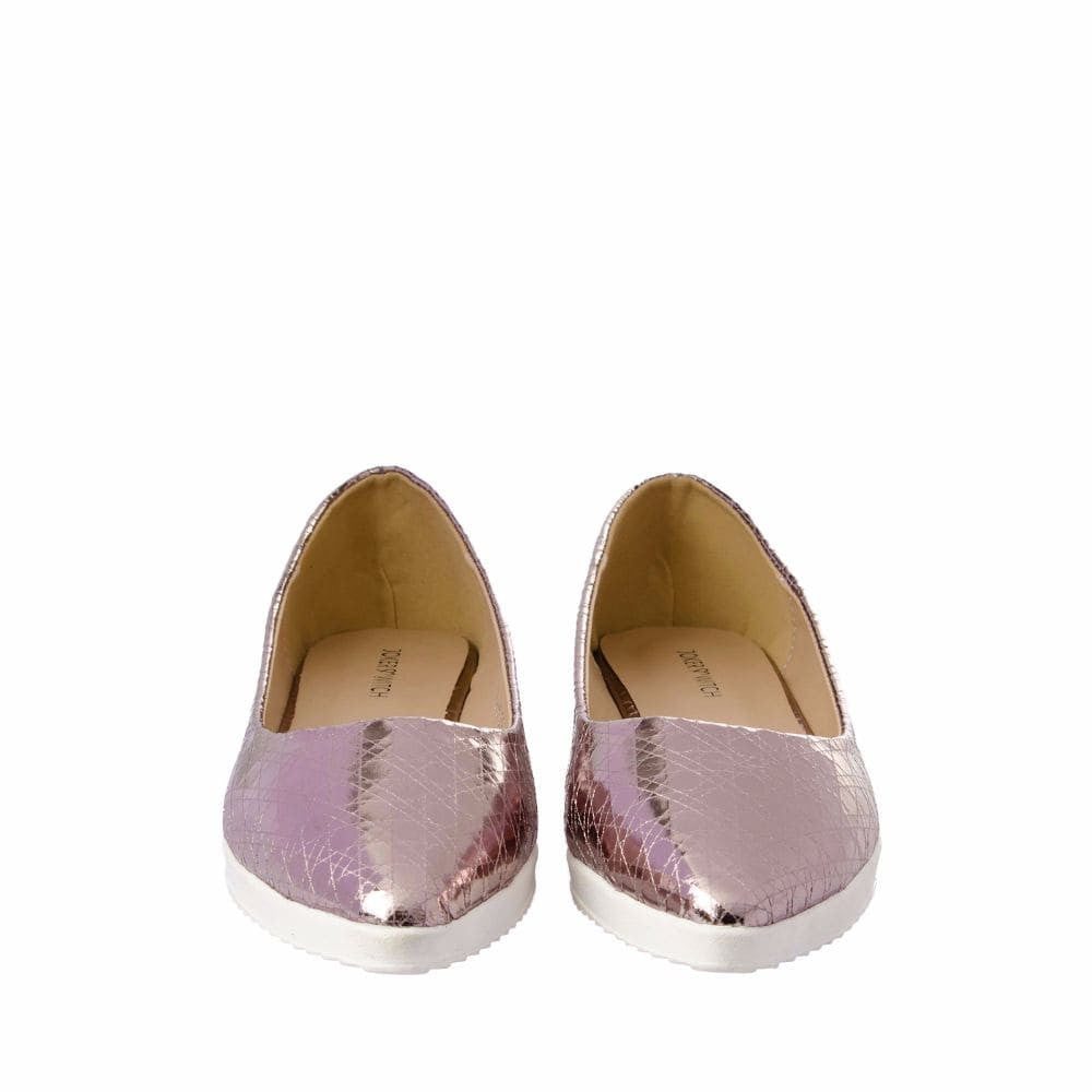 Textured Light Pink Flatform Ballerinas - Joker & Witch - 9