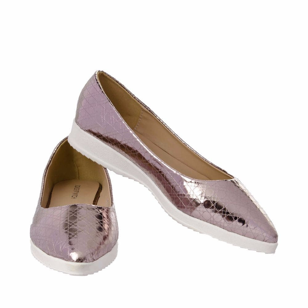 Textured Light Pink Flatform Ballerinas - Joker & Witch - 2