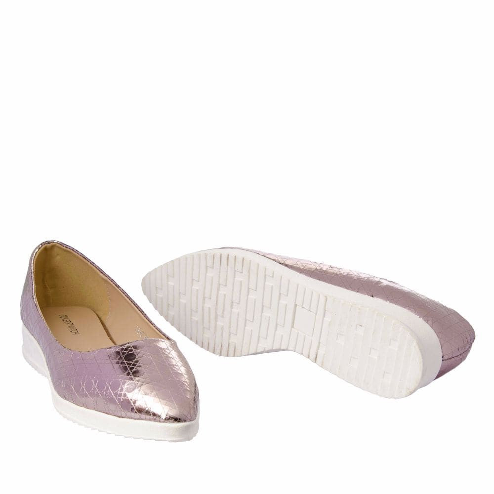 Textured Light Pink Flatform Ballerinas - Joker & Witch - 11