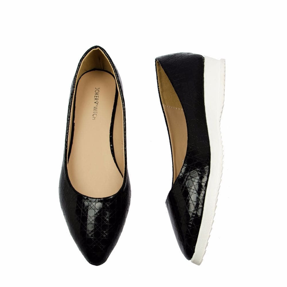 Textured Black Flatform Ballerinas - Joker & Witch - 3