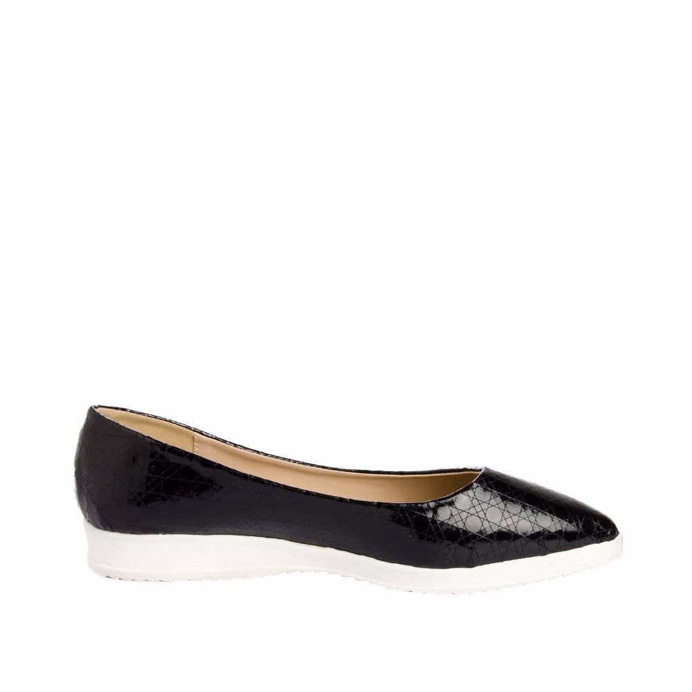 Textured Black Flatform Ballerinas - Joker & Witch - 1