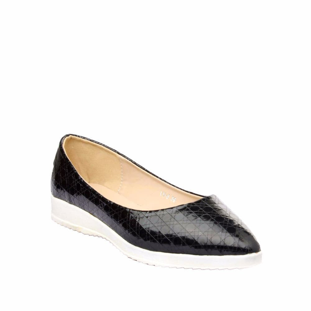Textured Black Flatform Ballerinas - Joker & Witch - 6