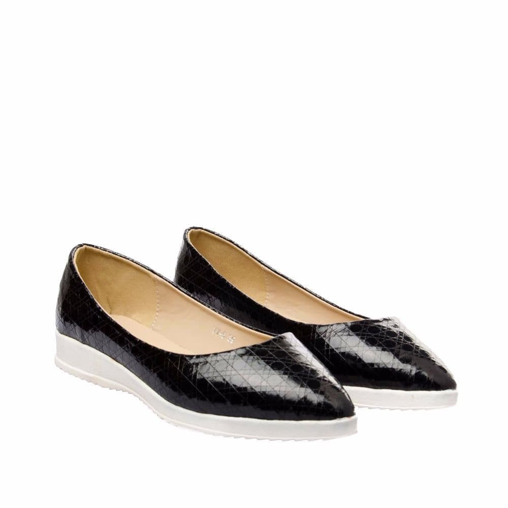Textured Black Flatform Ballerinas - Joker & Witch - 7