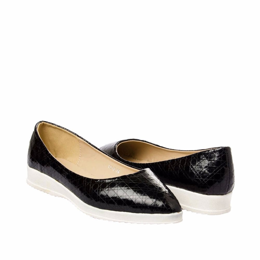 Textured Black Flatform Ballerinas - Joker & Witch - 8
