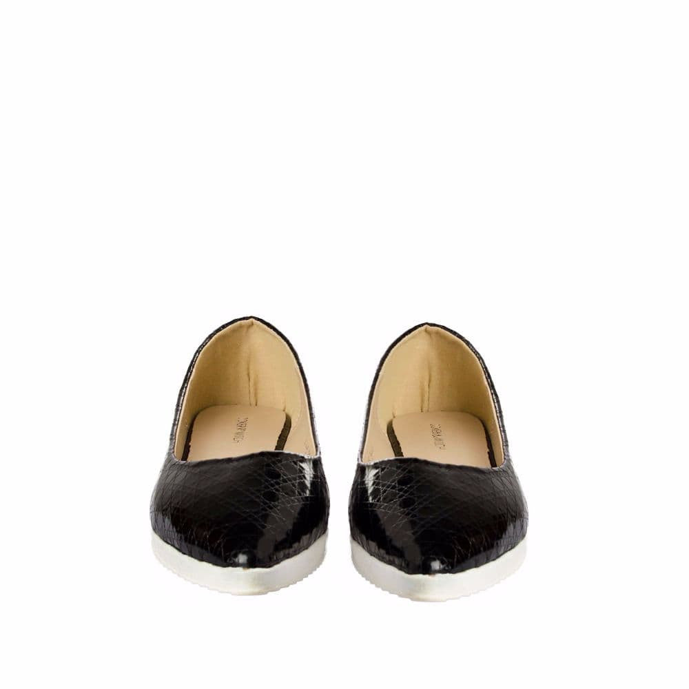 Textured Black Flatform Ballerinas - Joker & Witch - 9
