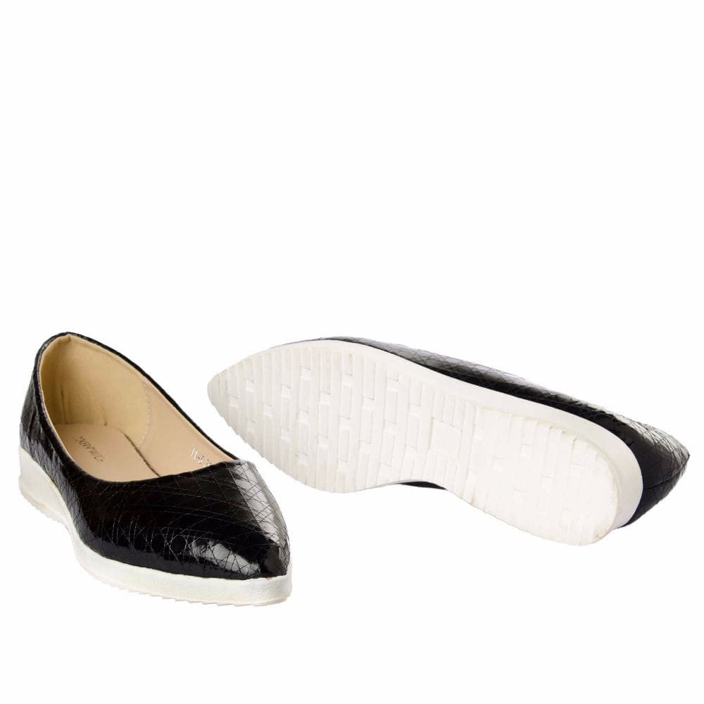 Textured Black Flatform Ballerinas - Joker & Witch - 11