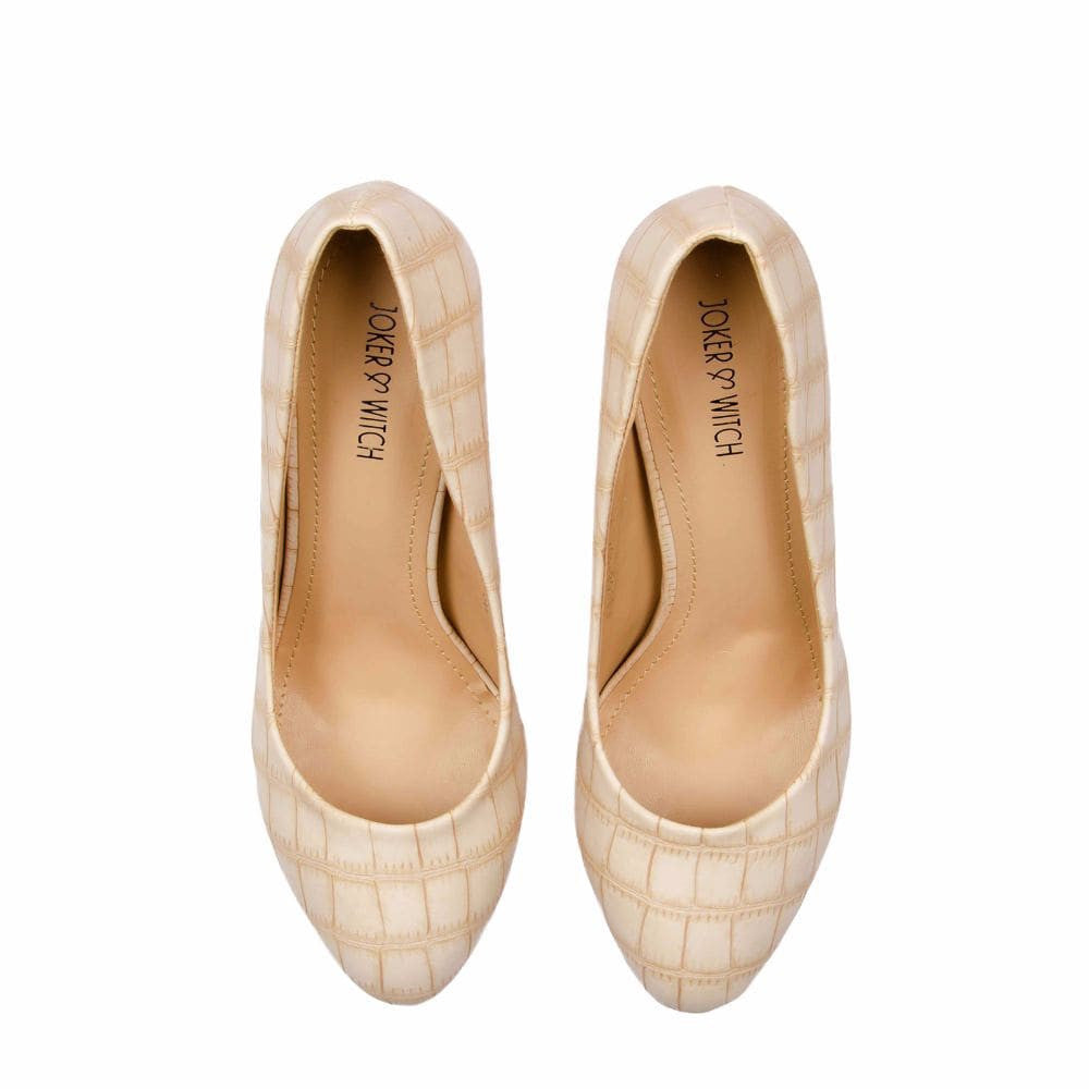 Croc print Cream stilletos - Joker & Witch - 12