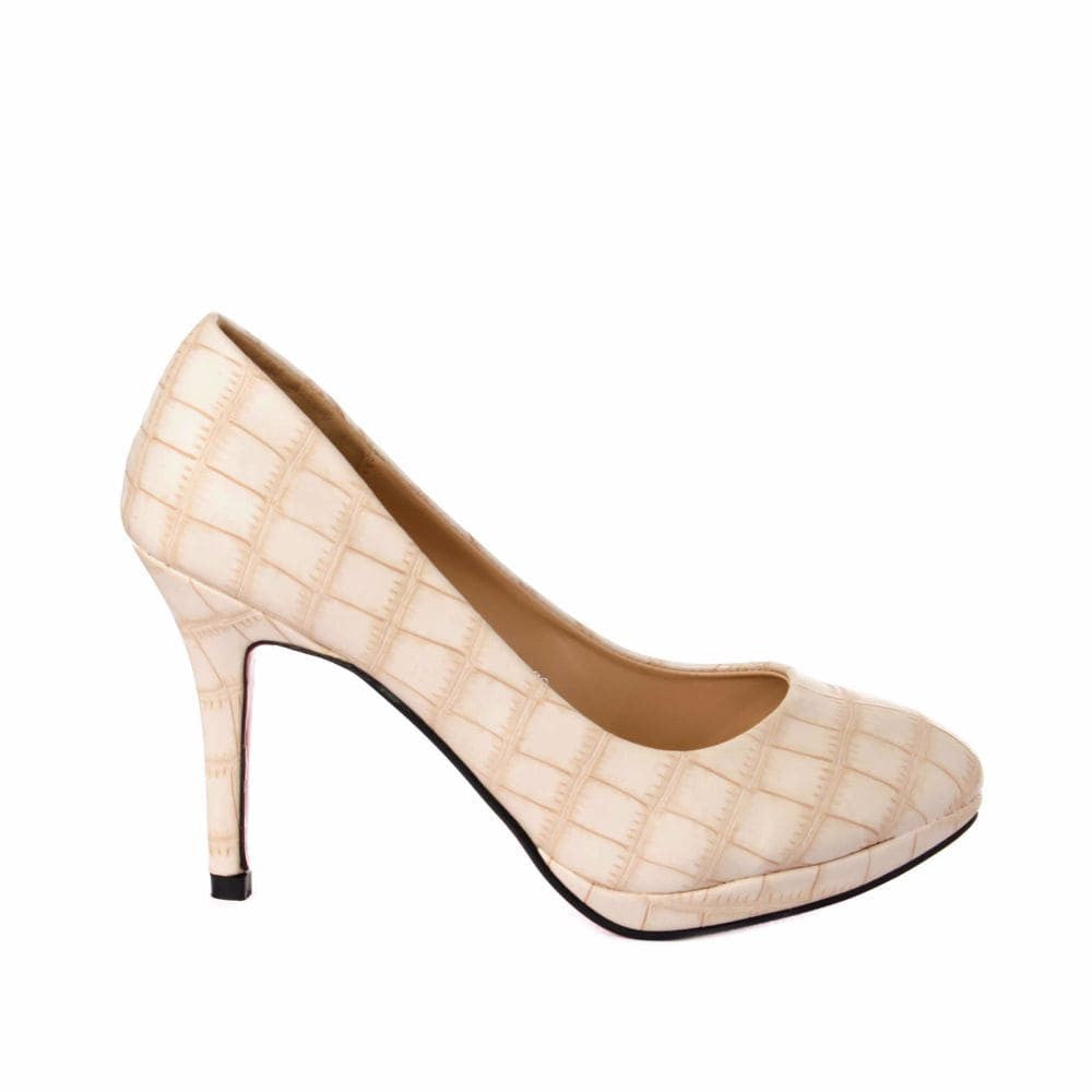 Croc print Cream stilletos - Joker & Witch - 1