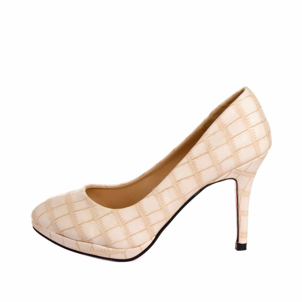 Croc print Cream stilletos - Joker & Witch - 4