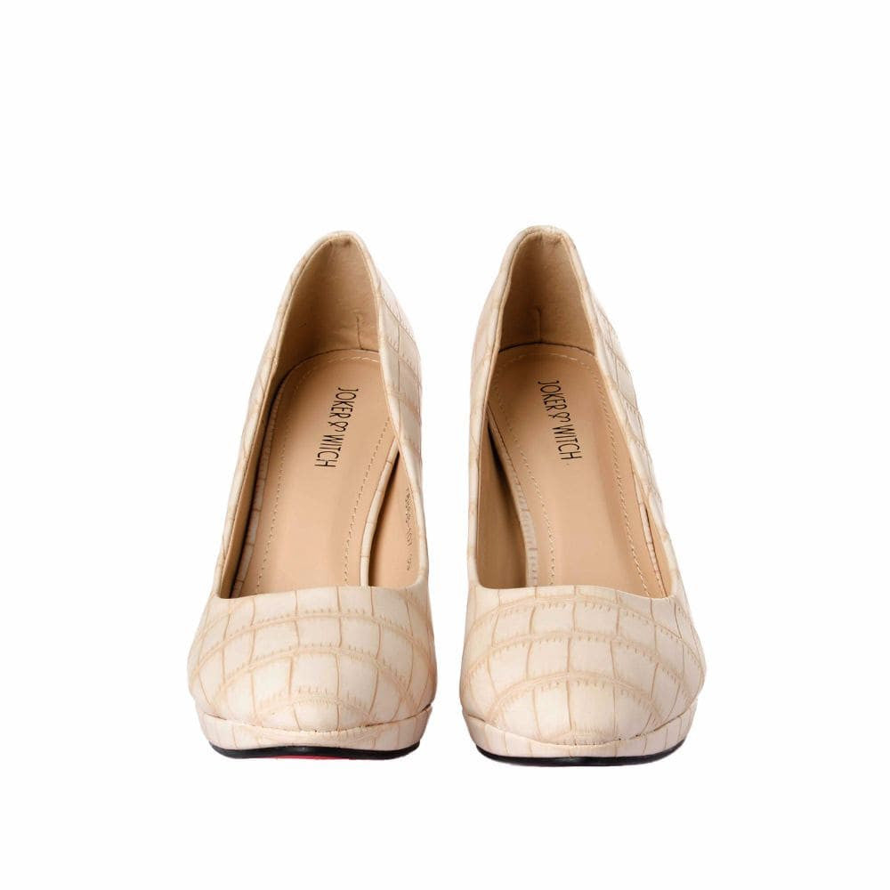 Croc print Cream stilletos - Joker & Witch - 8