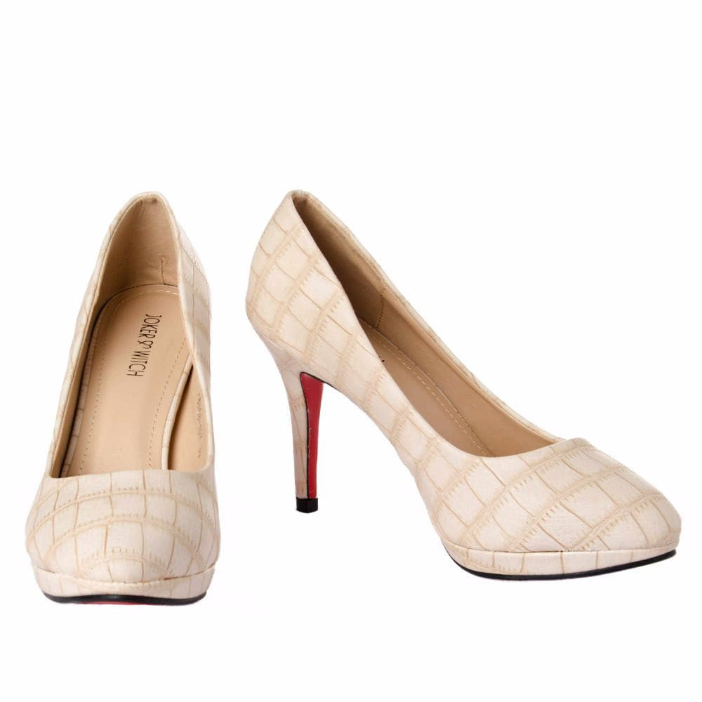 Croc print Cream stilletos - Joker & Witch - 3