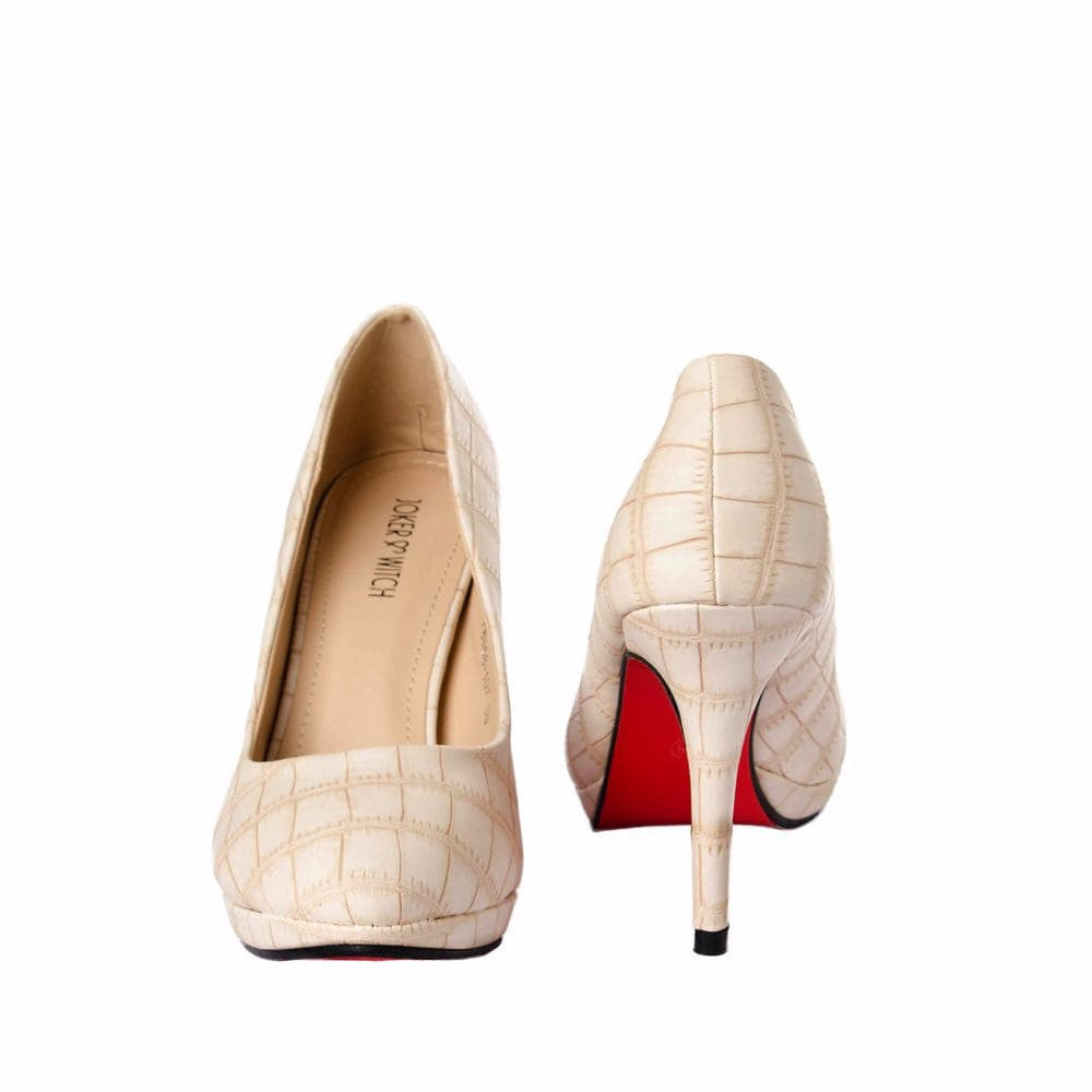 Croc print Cream stilletos - Joker & Witch - 9