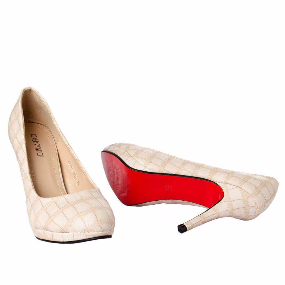 Croc print Cream stilletos - Joker & Witch - 10