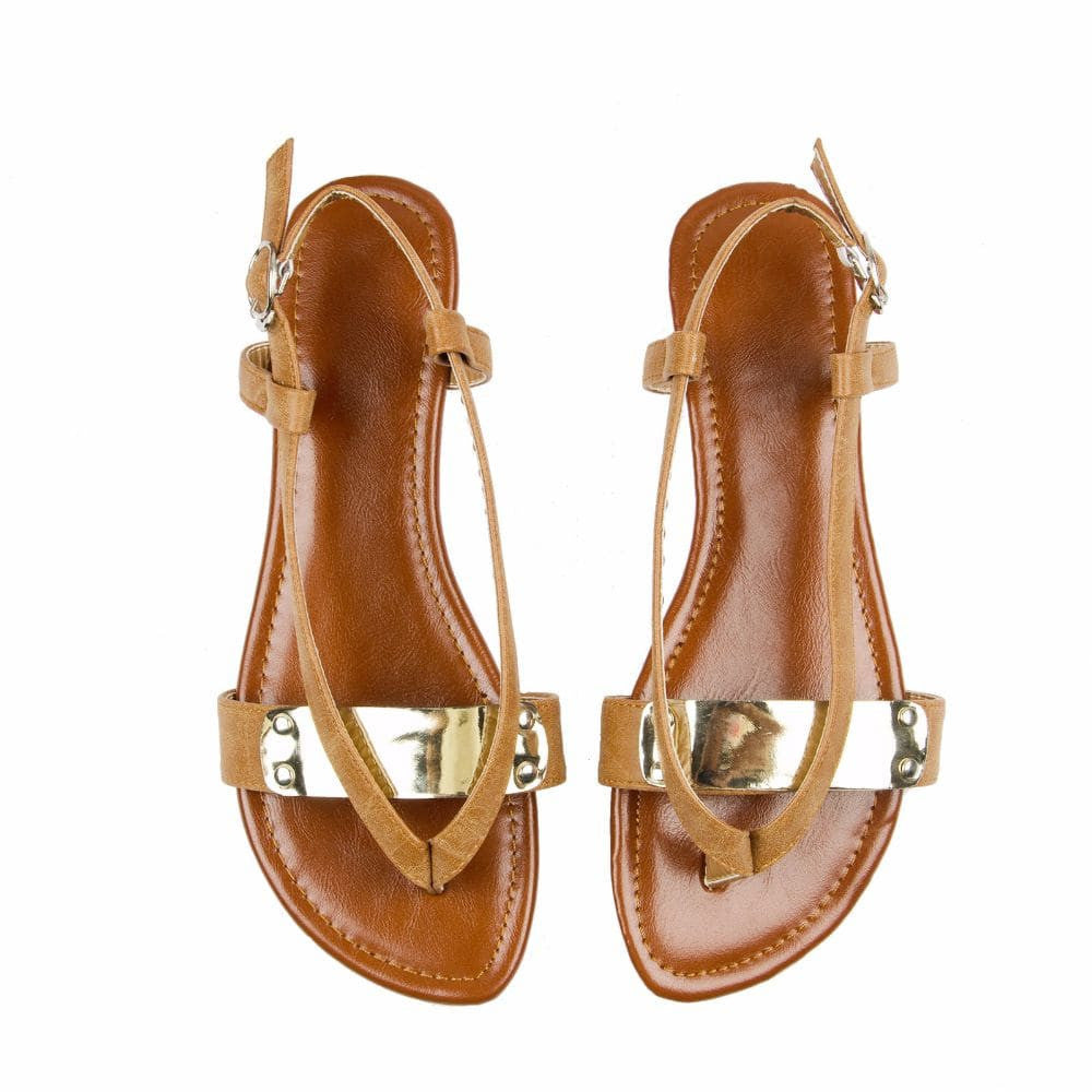 V strap Brown Sandals - Joker & Witch - 3