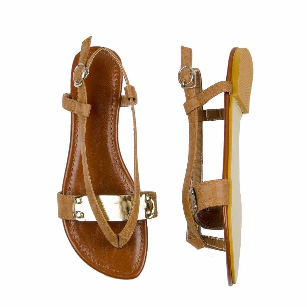 V strap Brown Sandals - Joker & Witch - 2