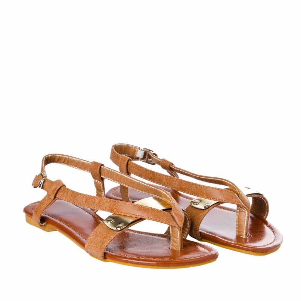 V strap Brown Sandals - Joker & Witch - 7