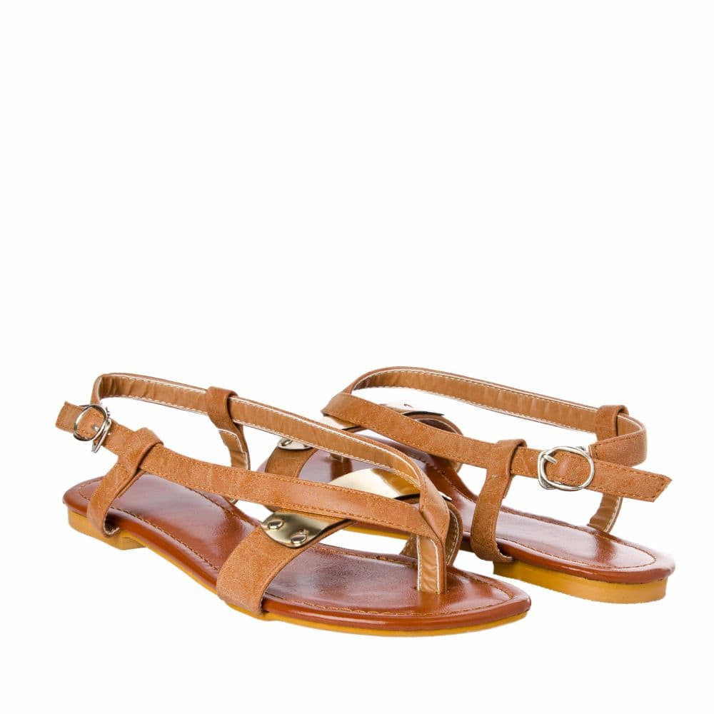 V strap Brown Sandals - Joker & Witch - 8