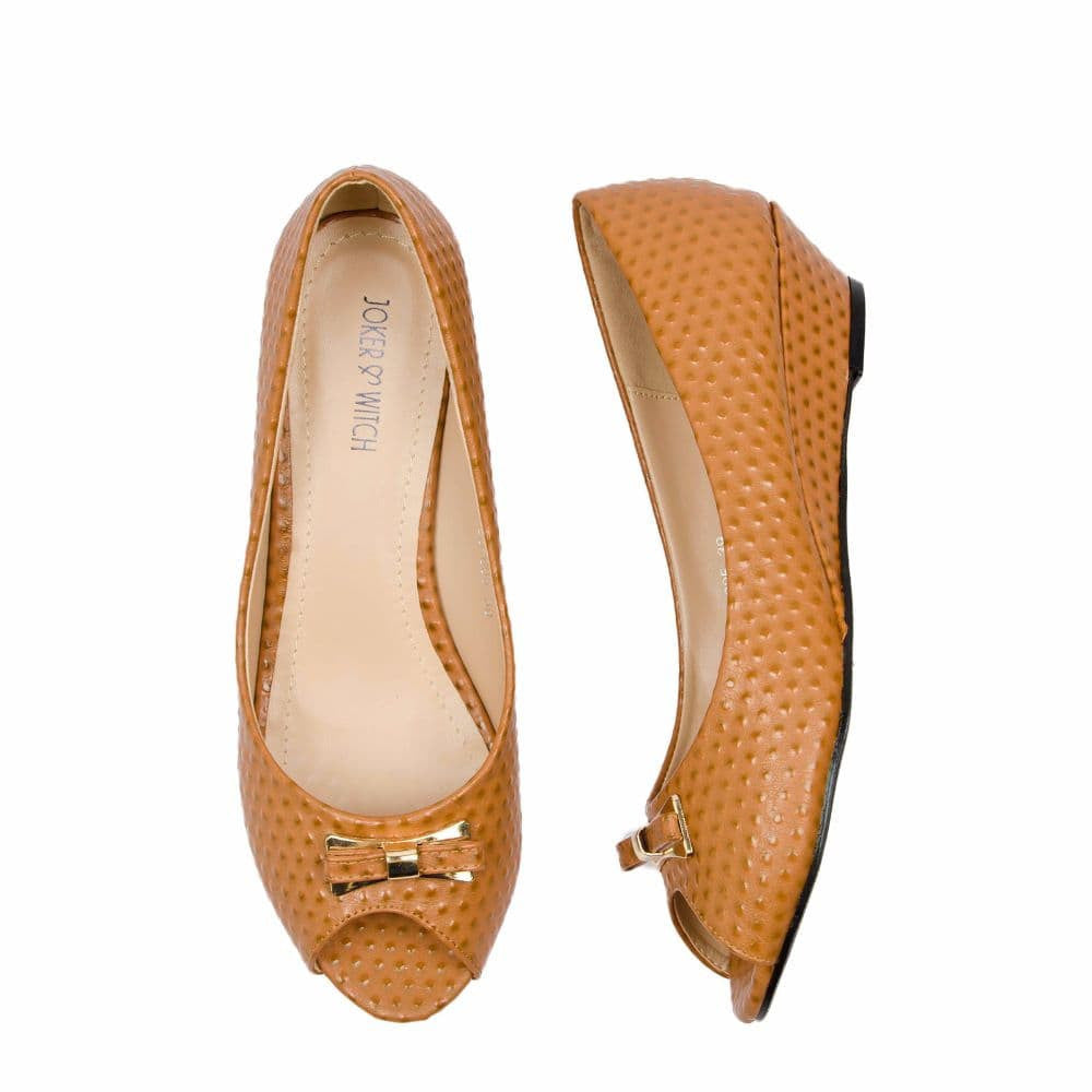 Ostrich print Tan Peep- toed wedges - Joker & Witch - 3