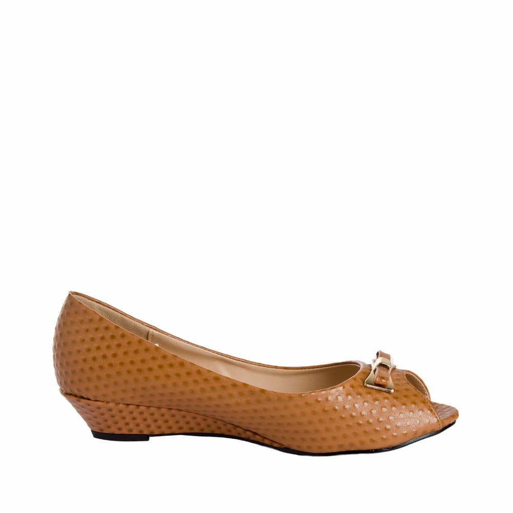 Ostrich print Tan Peep- toed wedges - Joker & Witch - 1