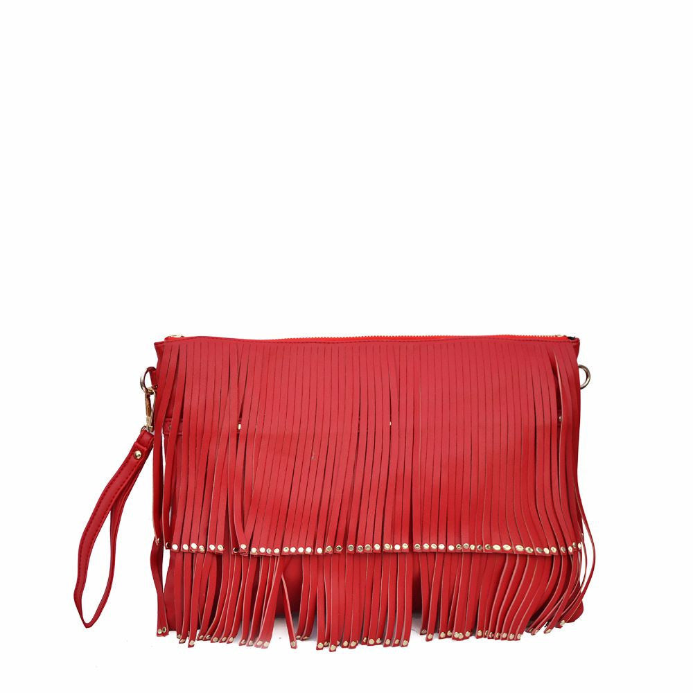 Rivet Fringe Red Clutch cum Sling - Joker & Witch - 1