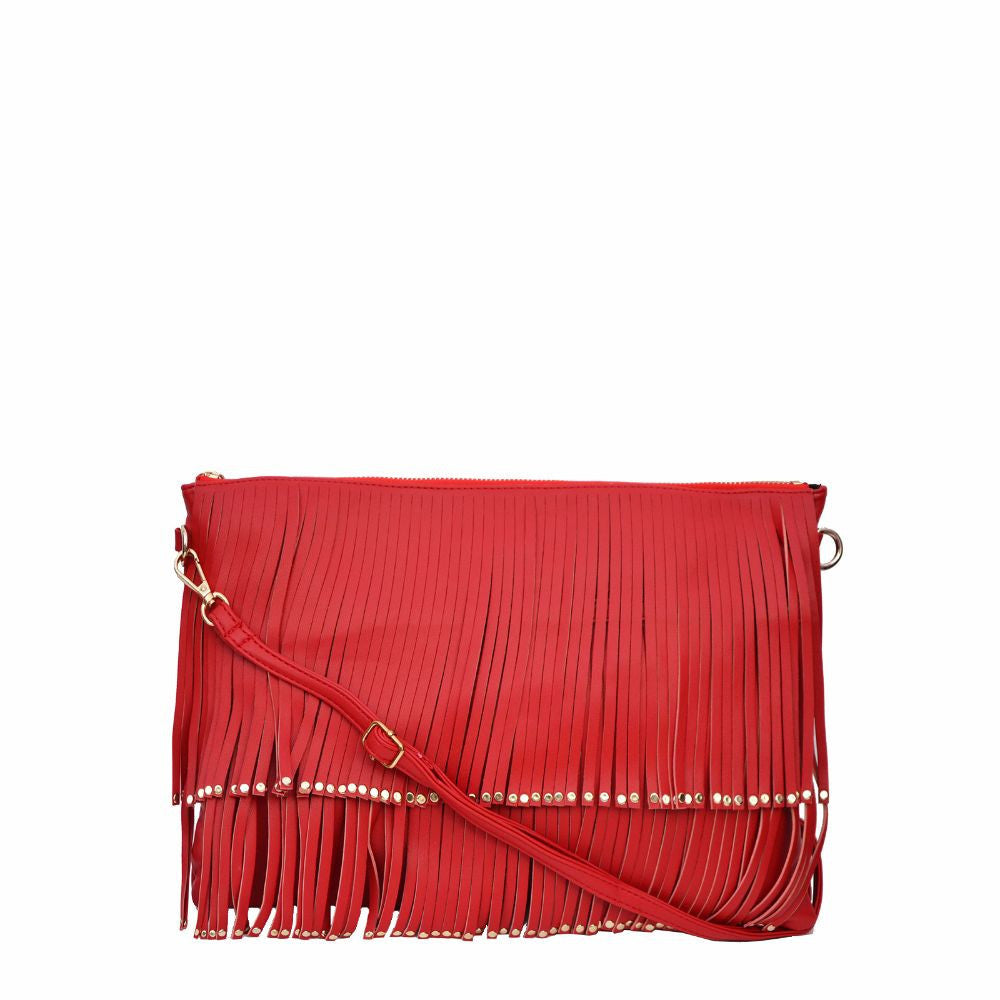 Rivet Fringe Red Clutch cum Sling - Joker & Witch - 2