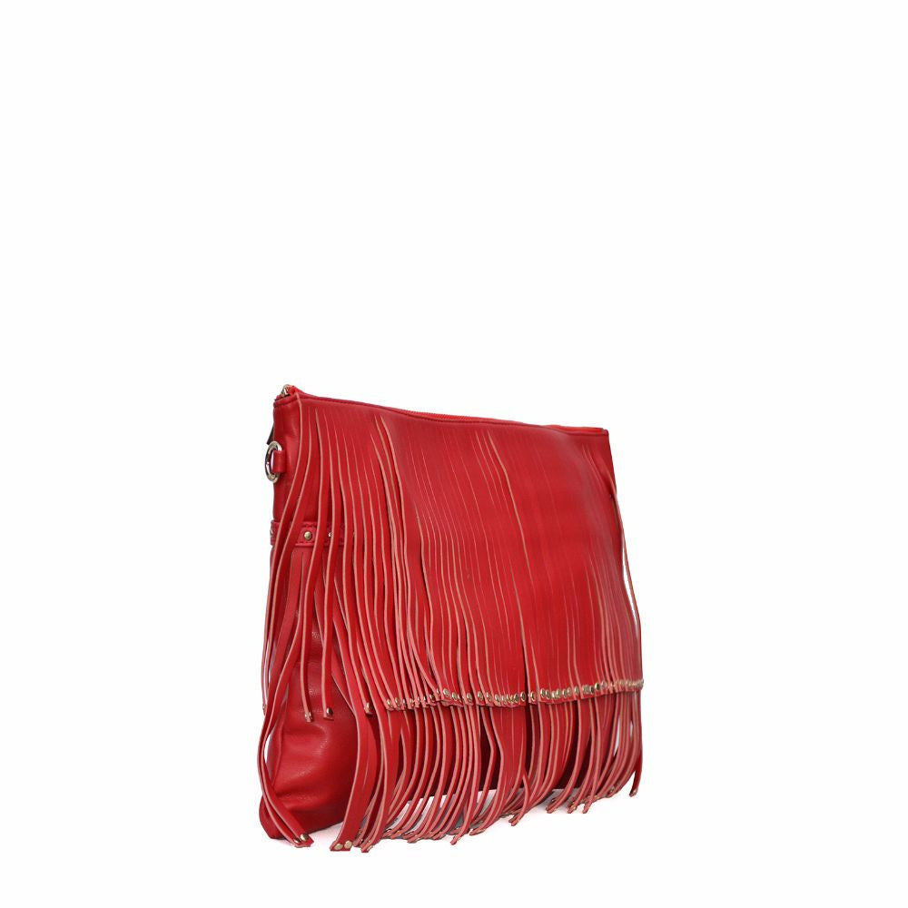 Rivet Fringe Red Clutch cum Sling - Joker & Witch - 3