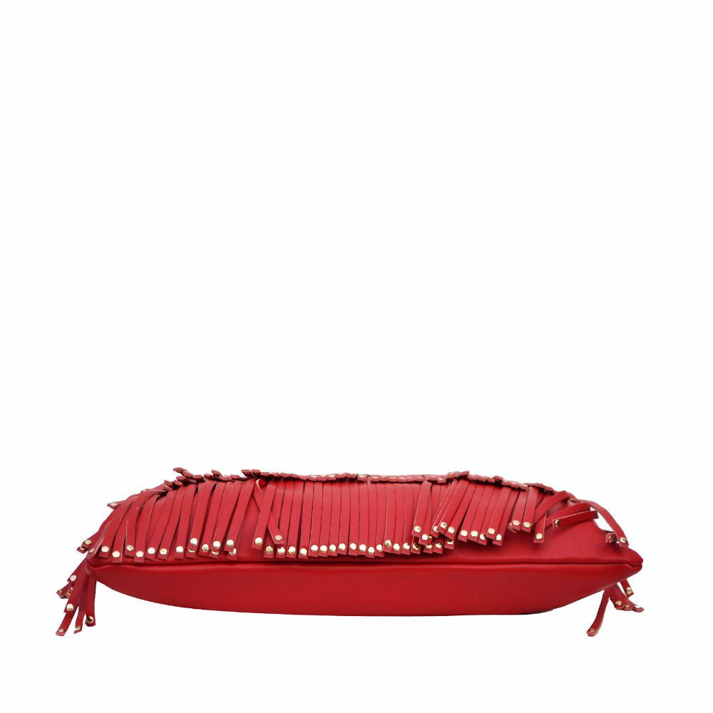 Rivet Fringe Red Clutch cum Sling - Joker & Witch - 6