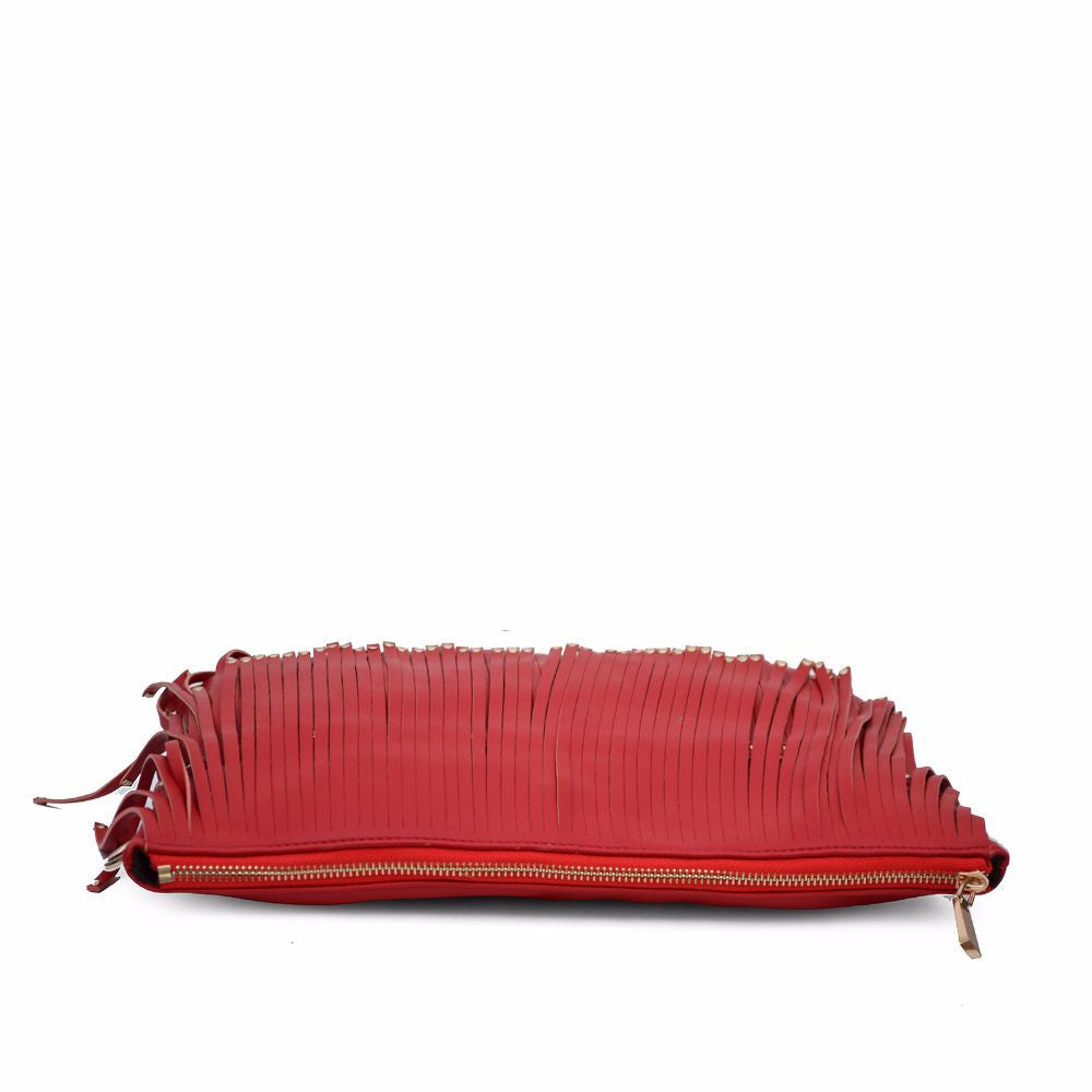 Rivet Fringe Red Clutch cum Sling - Joker & Witch - 7