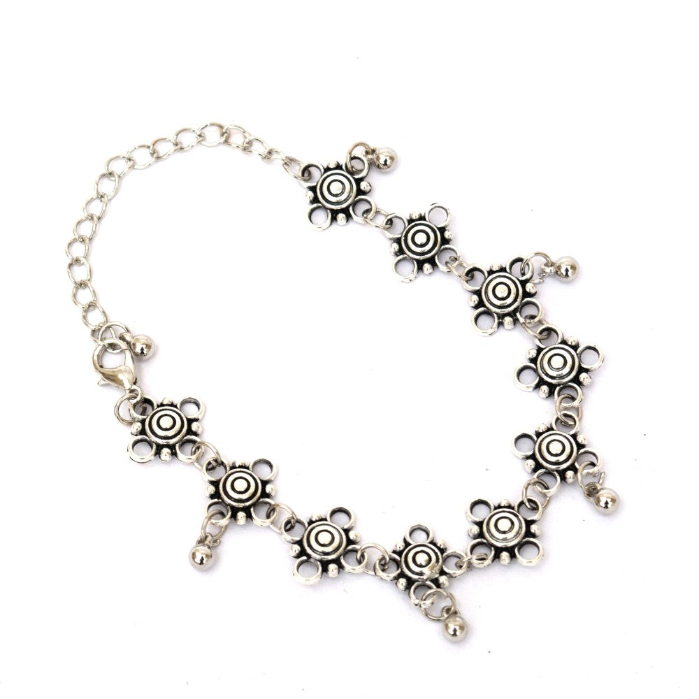 Antique Silver ball charm Anklet