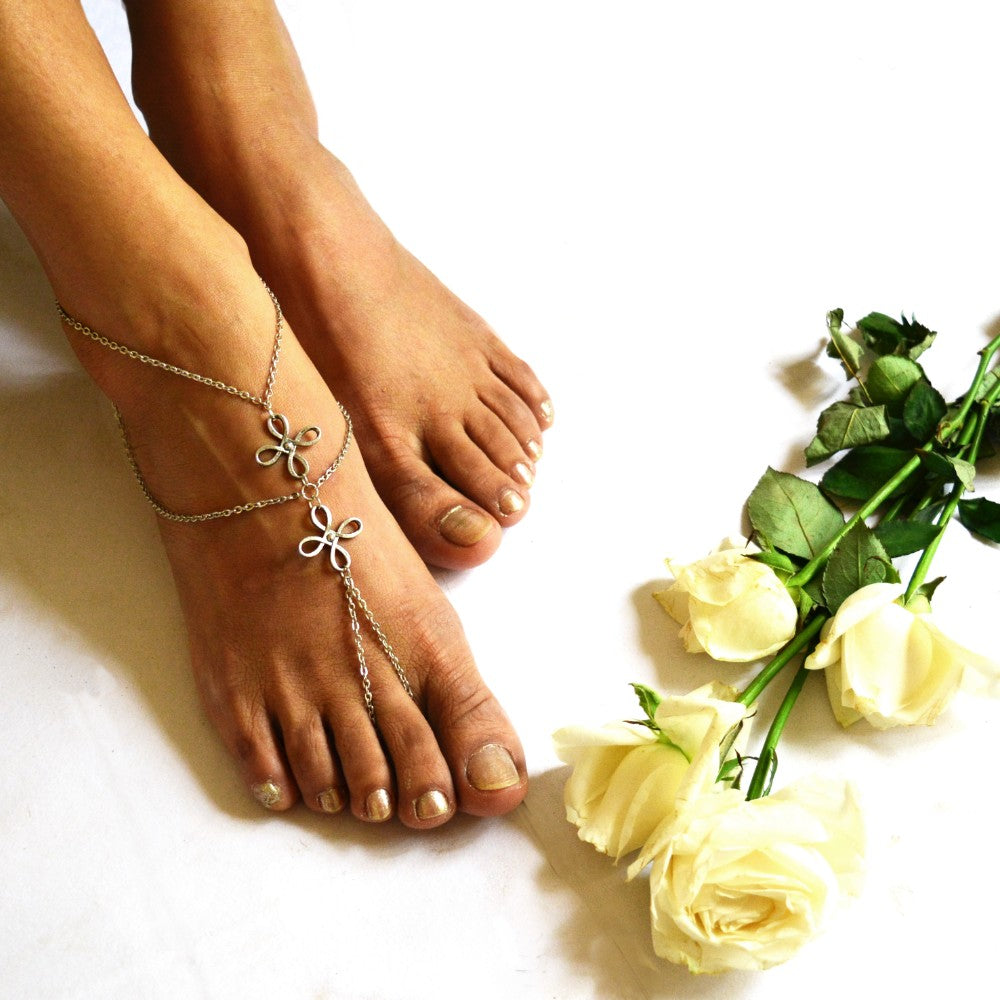 Two Flower Silver Anklet