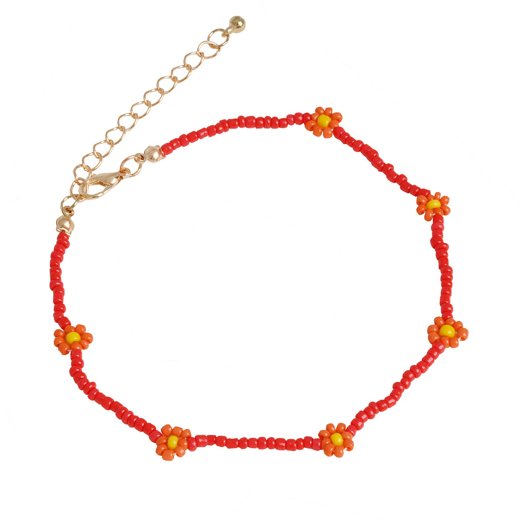 Daisy Bloom Red Beaded Anklet