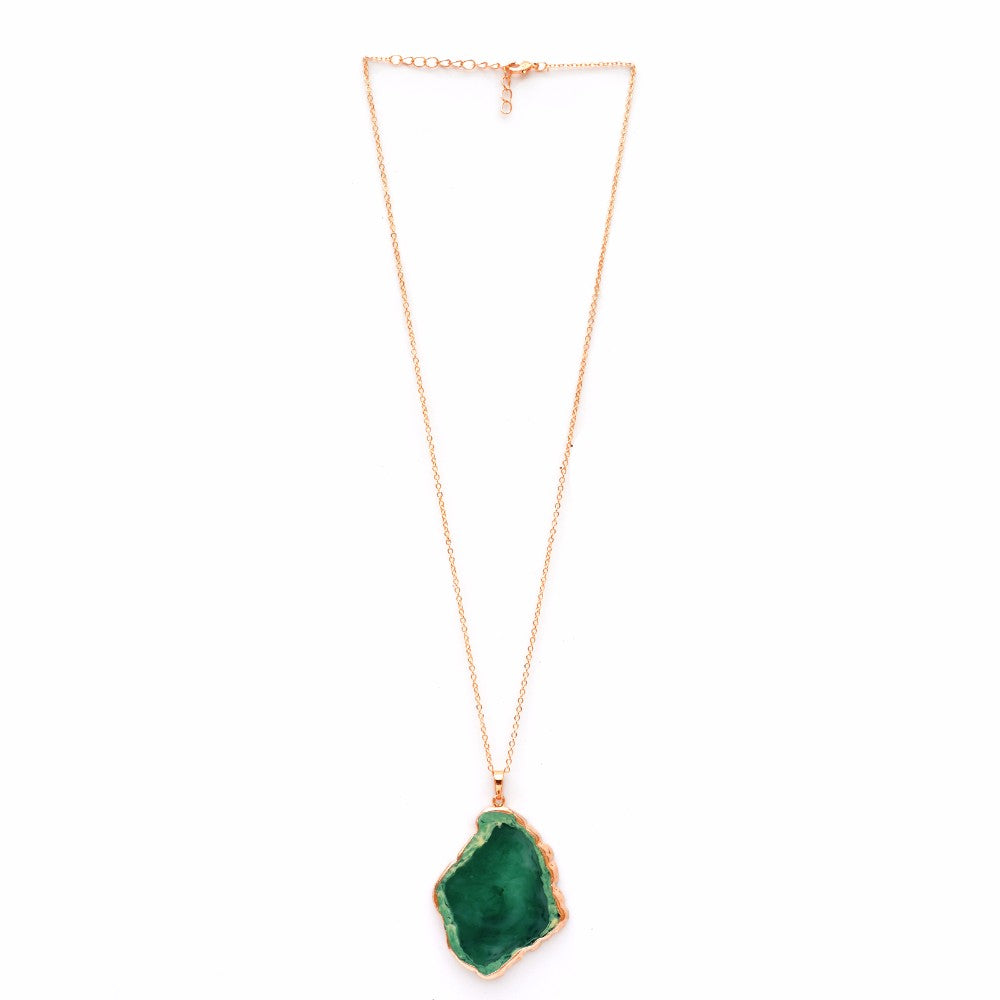 Emerald green Fossil Pendant Necklace