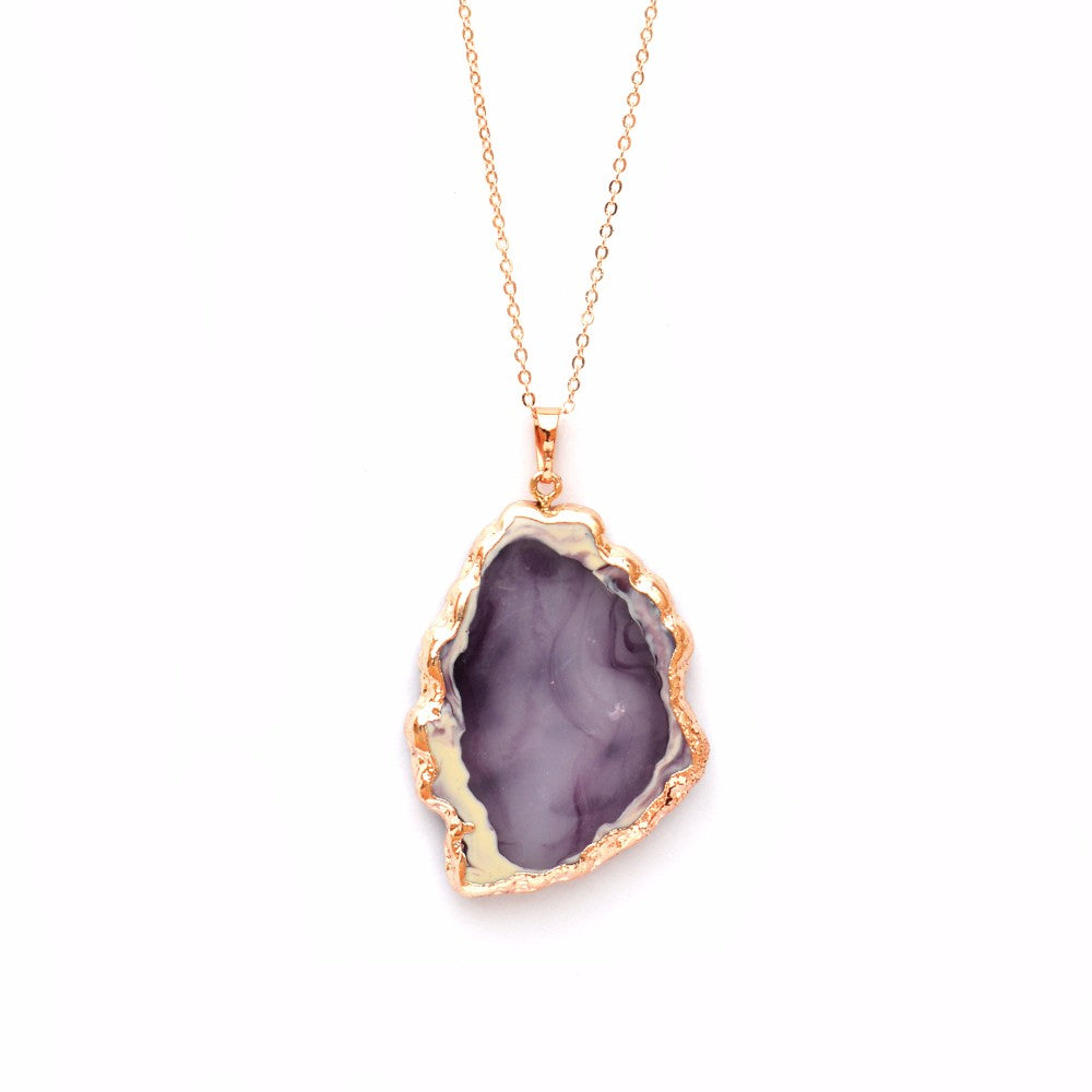 Exotic Purple Crystal Pendant Necklace