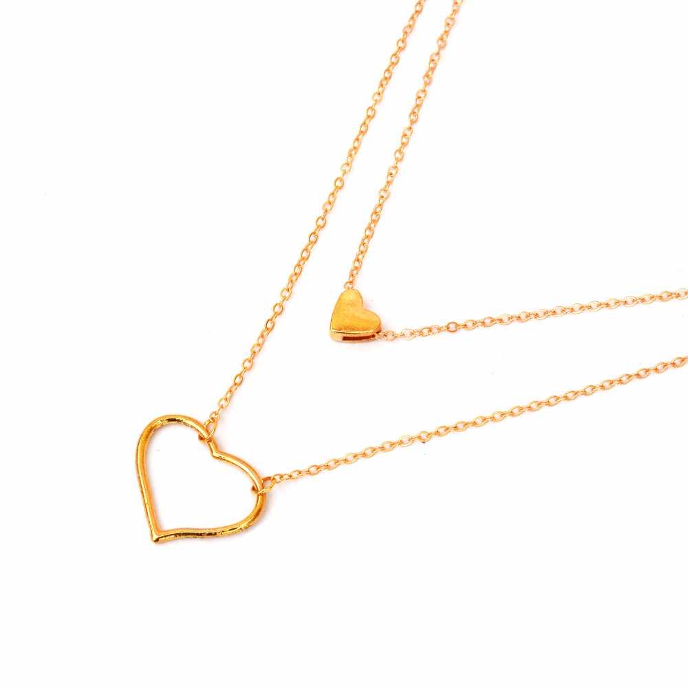 Double Layered Heart Necklace - Joker & Witch