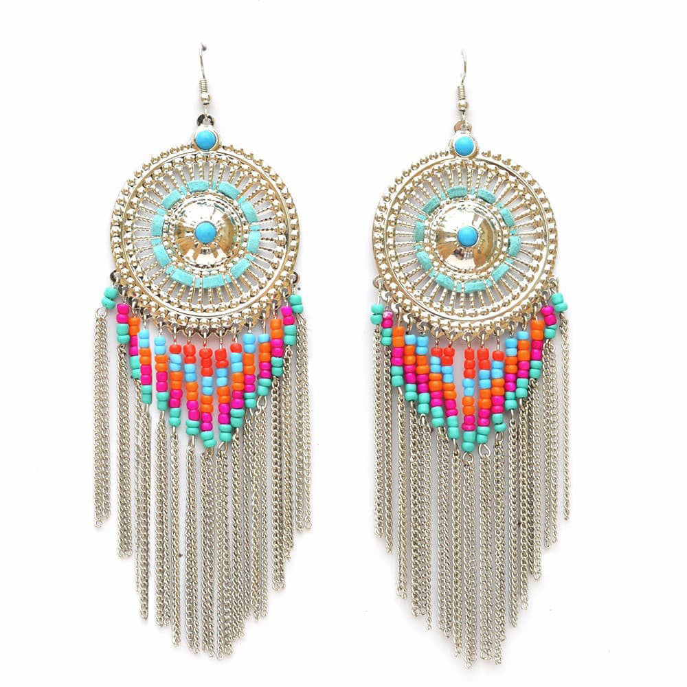 hot earring dangle tassel statement fashion earrings new fringe jujia multicolored drop wedding