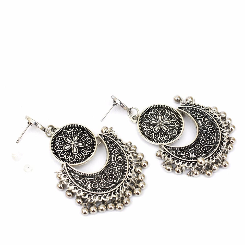 Ethnic silver ghungroo earrings - Joker & Witch