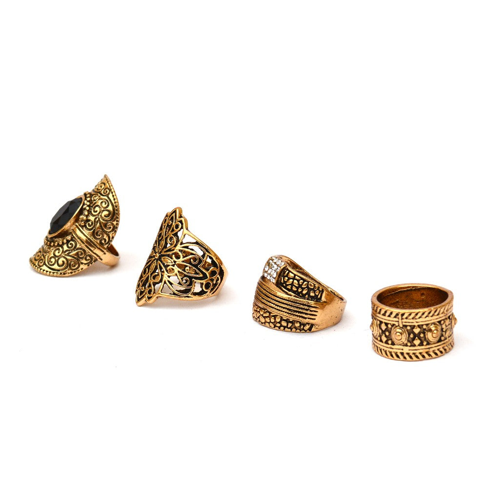 Gypsy Style Set Of 4 Rings - Joker & Witch