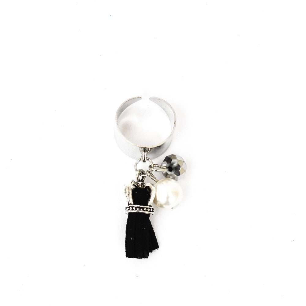 Funky Black Tassel Ring