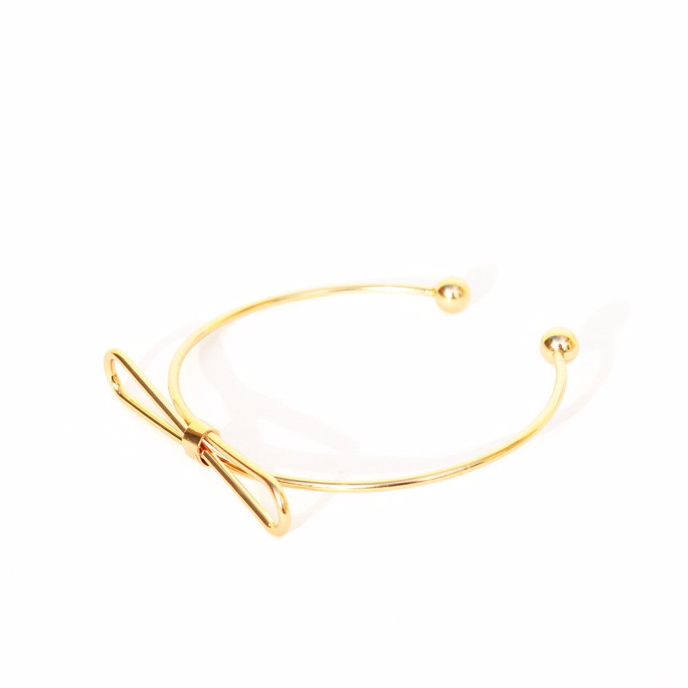 Elegant Bow Open Cuff Gold Bracelet - Joker & Witch