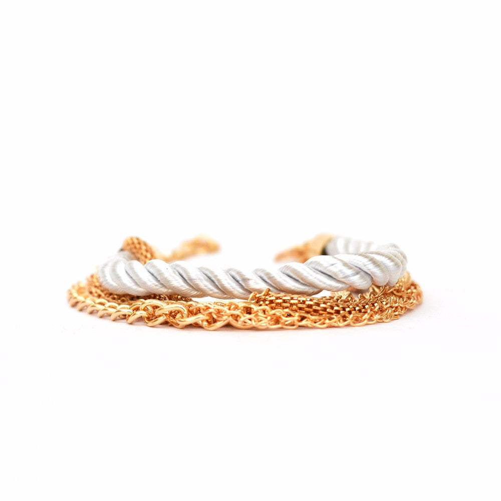 White Stacked Party Bracelet - Joker & Witch