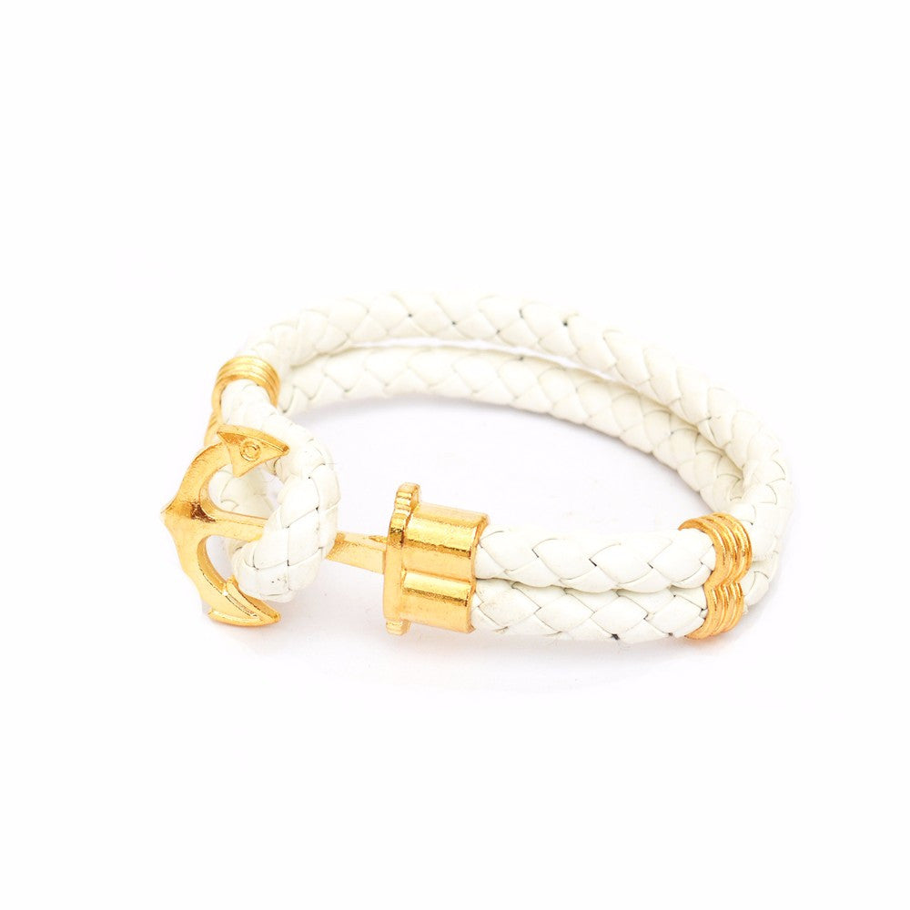 White Anchor Braided Bracelet