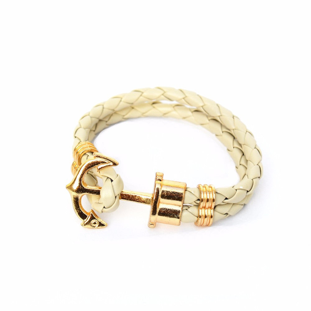 Beige Anchor Braided Bracelet